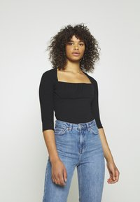 Glamorous Tall - RUCHEL PANEL LONG SLEEVE - Long sleeved top - black - 0