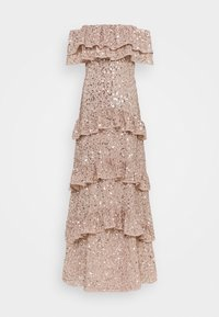 Maya Deluxe - BARDOT ALL OVER SEQUIN MAXI DRESS WITH RUFFLES - Abito da sera - taupe blush