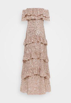 BARDOT ALL OVER SEQUIN MAXI DRESS WITH RUFFLES - Iltapuku - taupe blush