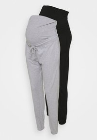 Missguided Maternity - MATERNITY BASIC JOGGER 2 PACK - Tracksuit bottoms - black/grey marl - 0