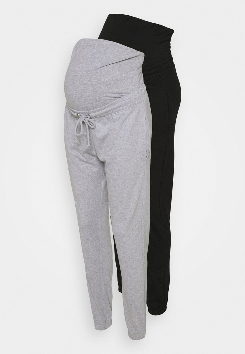 Missguided Maternity - MATERNITY BASIC JOGGER 2 PACK - Tracksuit bottoms - black/grey marl