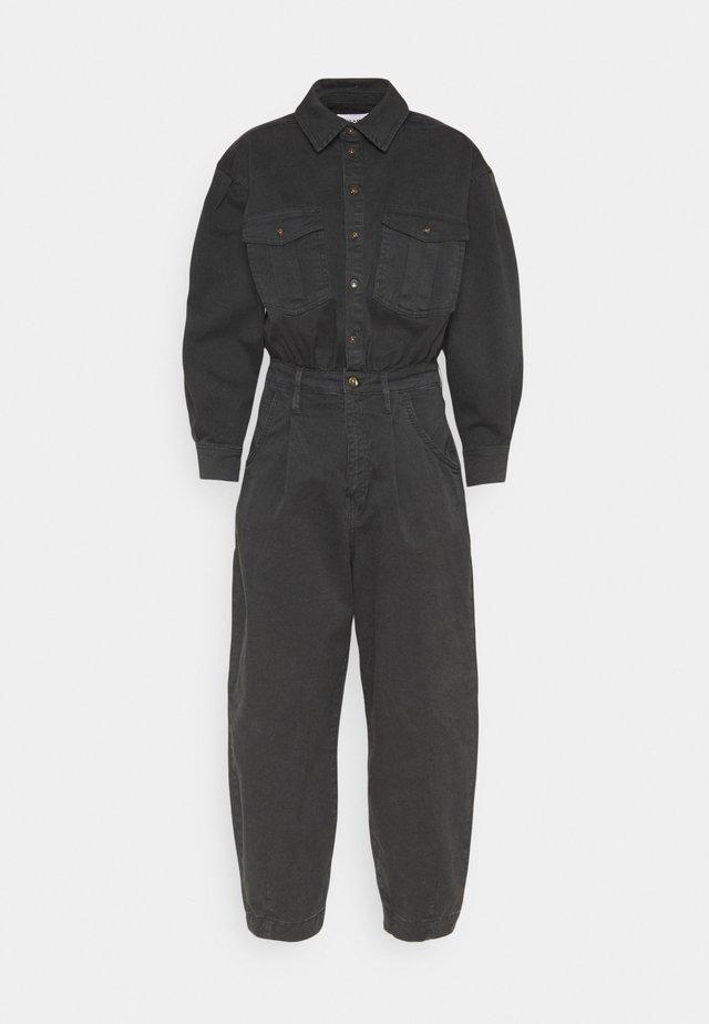 PLEATED BARREL LEG - Jumpsuit - washed black