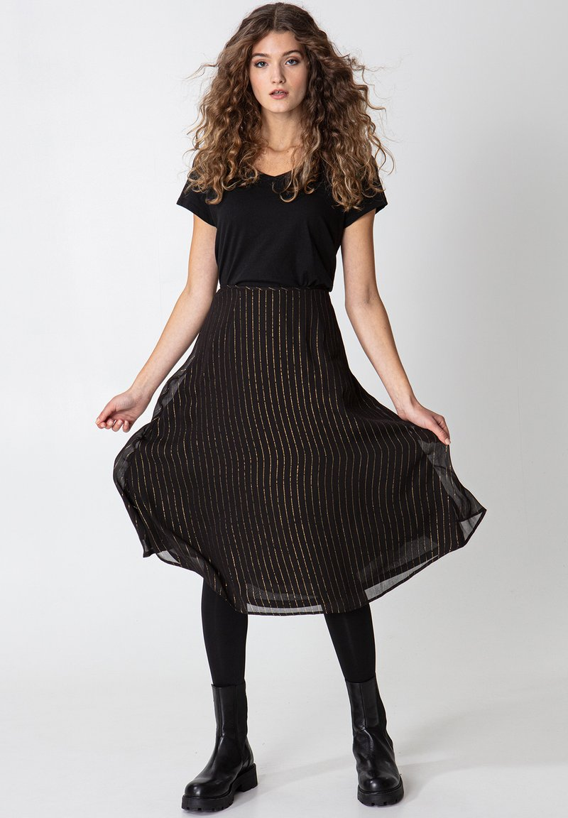 Indiska - ROS LUREX - A-line skirt - black