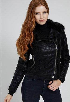 BIKER KUNSTLEDER - Leather jacket - schwarz