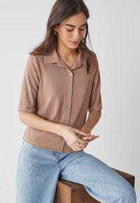 Next - Button-down blouse - tan - 2
