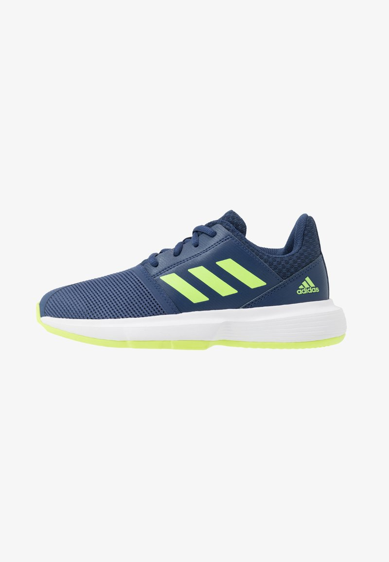 adidas Performance - COURTJAM - Clay court tennis shoes - tech indigo/signal green/footwear white