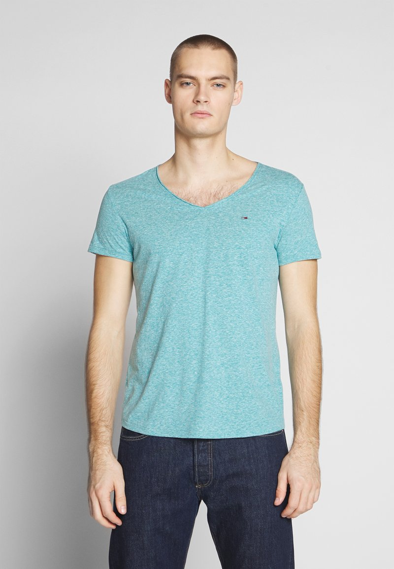 Tommy Jeans - VNECK TEE - Basic T-shirt - exotic teal