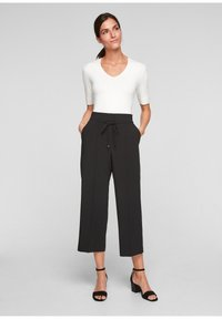 s.Oliver BLACK LABEL - REGULAR CULOTTE MIT ZIERNAHT - Trousers - black - 1