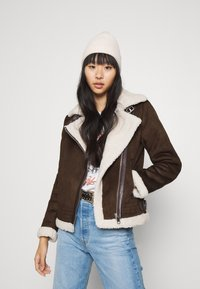 ONLY - ONLDIANA BONDED AVIATOR JACKET - Faux leather jacket - black coffee/white - 4