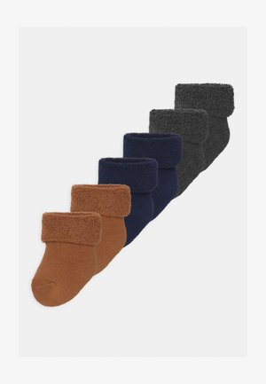 ONE BORN 6 PACK UNISEX - Socks - grey/dark blue/mustard yellow