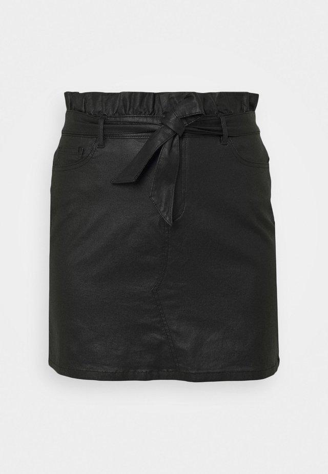 COATED PAPERBAG WAIST SKIRT - Minirok - black