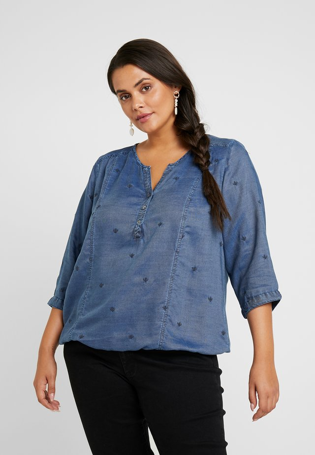EMBROIDERED BLOUSE ELASTICATED HEM - Blus - denim blue