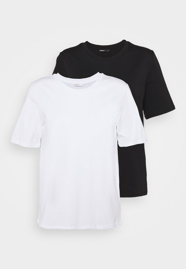 ONLONLY LIFE NOOS 2 PACK - T-shirts - black/white