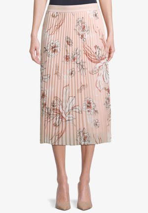 MIT BLUMENPRINT - Pleated skirt - rose/cream
