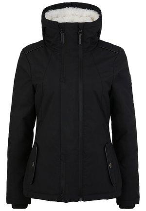 MIT TEDDYFELL UND KAPUZE - Winter jacket - schwarz