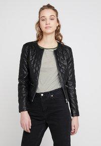 JDY - JDYFIA QUILT JACKET - Faux leather jacket - black - 0