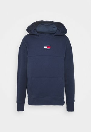 BADGE FUNNEL NECK HOODIE - Kapuzenpullover - navy
