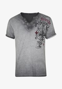 Key Largo - KNIGHT BUTTON - T-shirt con stampa - silver - 3