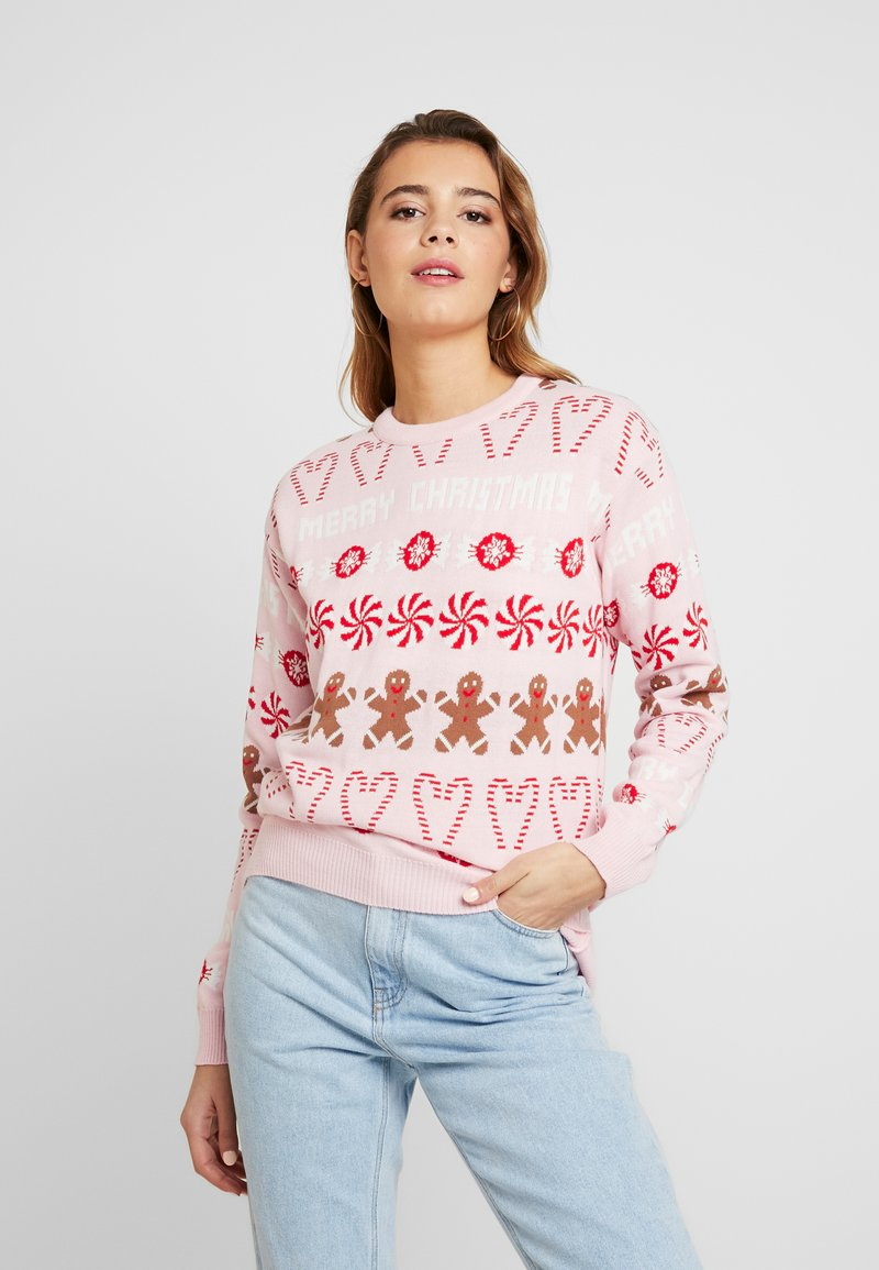Missguided - CHRISTMAS GINGERBREAD MAN JUMPER - Jumper - pink