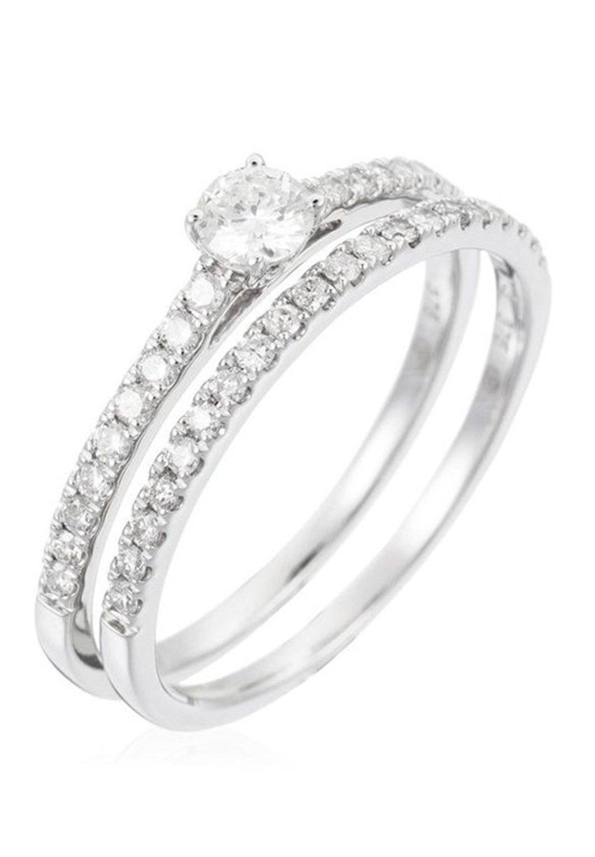 Damen WHITE GOLD RING 9K CERTIFIED 39 DIAMONDS HSI AND 38 DIAMONDS 0.30 CT - Ring