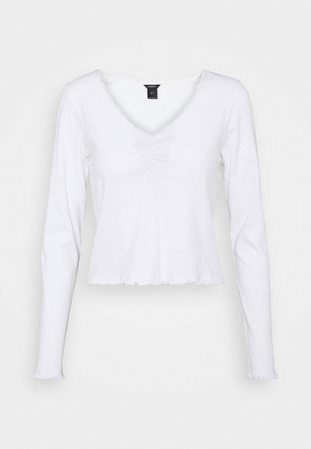 LINNEA - Top sdlouhým rukávem - white