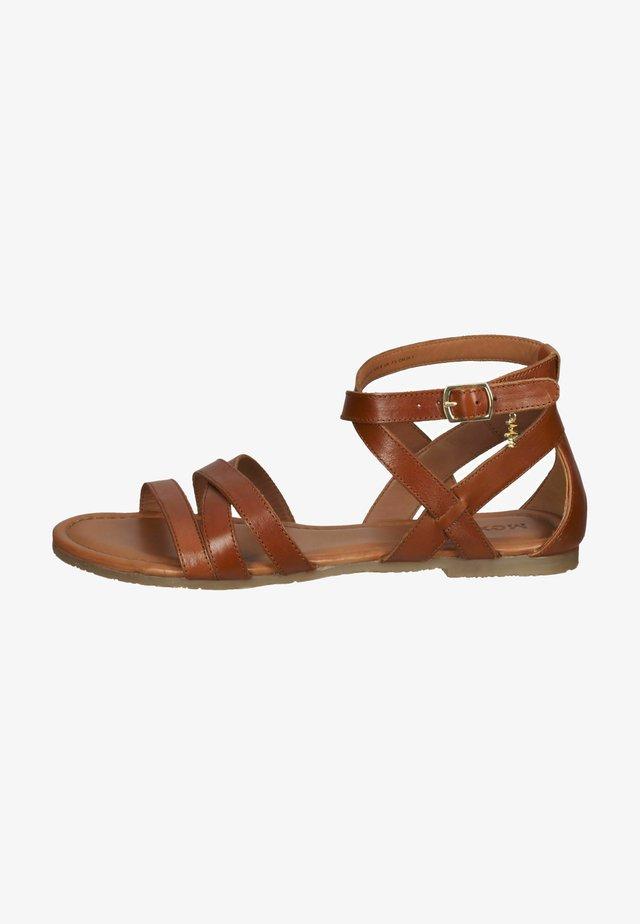 Sandalen met enkelbandjes - tabacco