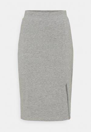 BASIC - Midi skirt with slit - Pouzdrová sukně - mottled grey