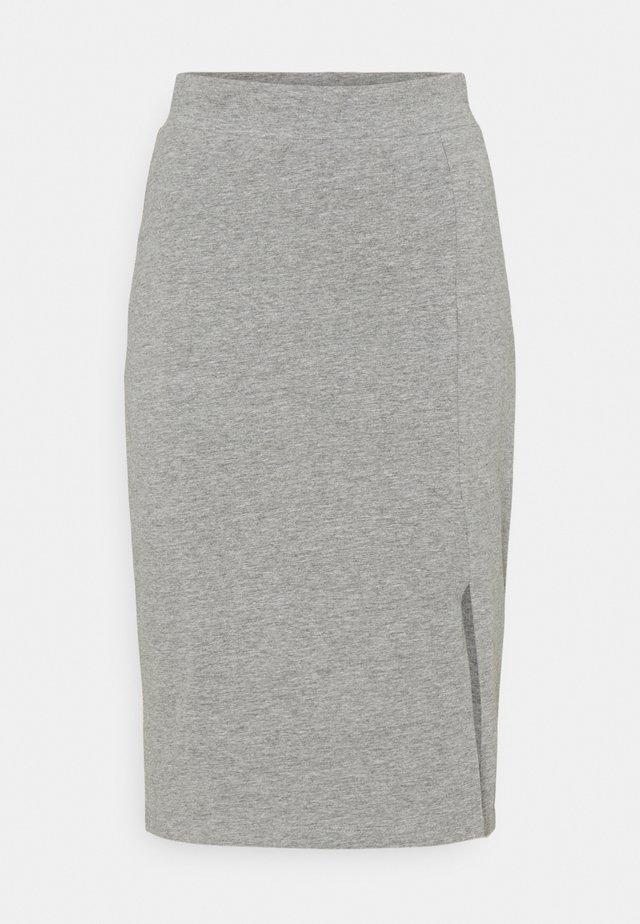 BASIC - Midi skirt with slit - Falda de tubo - mottled grey