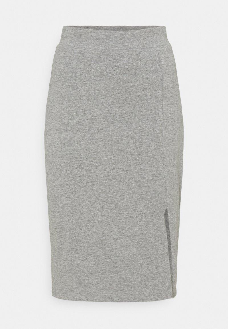 Even&Odd - BASIC - Midi skirt with slit - Pouzdrová sukně - mottled grey