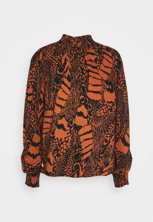 KAADELE BLOUSE - Long sleeved top - black/ginger bread