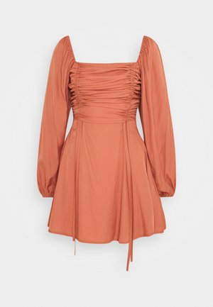 RUCHED BUST ALINE DRESS - Day dress - rust