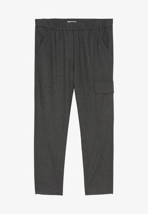 TAILORED JOGG-PANTS AUS VISKOSE-WOLLE-MIX - Cargo trousers - deep stone melange