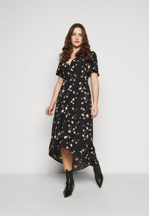 FLORAL WRAP MIDI DRESS - Day dress - black