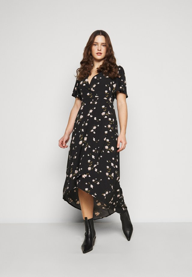 FLORAL WRAP MIDI DRESS - Korte jurk - black