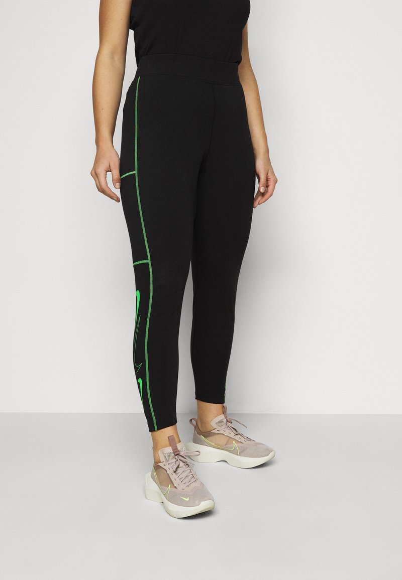 Nike Sportswear - Leggings - Trousers - black/poison green