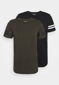 JCOZDOUBLE STRIPE TEE 2 PACK - T-shirt med print - black/forest night