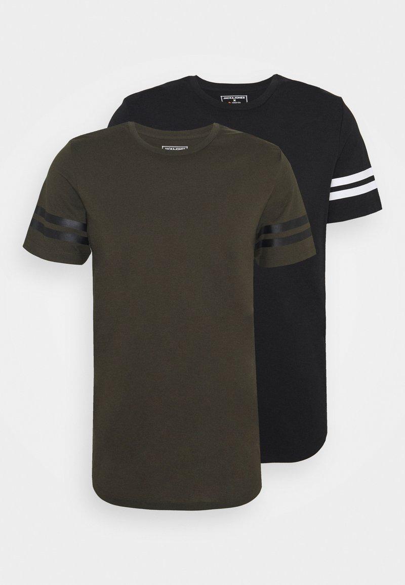 Jack & Jones Performance - JCOZDOUBLE STRIPE TEE 2 PACK - Print T-shirt - black/forest night