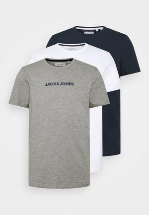 JACRAIN TEE 3 PACK - Pyjama top - light grey melange/navy blazer/white