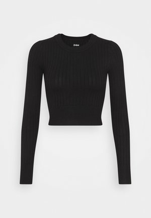 CROPPED RIB JUMPER  - Jumper - black