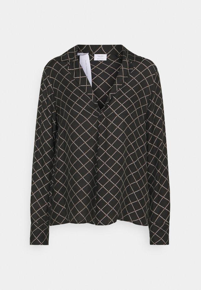 PRINTED  BLEND LAPEL - Blusa - black