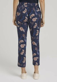 TOM TAILOR - LOOSE FIT - Trousers - navy floral design - 2
