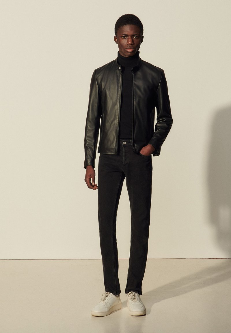 sandro - ANTHONY - Leather jacket - noir