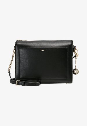 CHAIN ITEM SUTTON MEDIUM BOX CROSSBODY - Schoudertas - black/gold