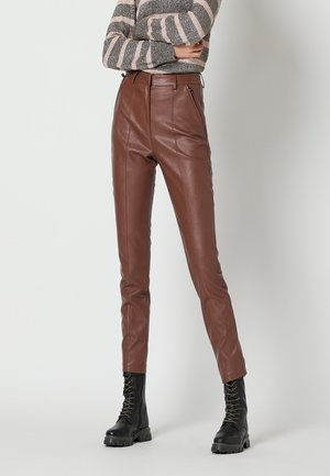 Leather trousers - cacao