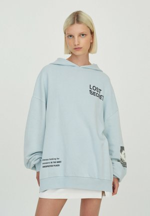 Hoodie - mottled light blue