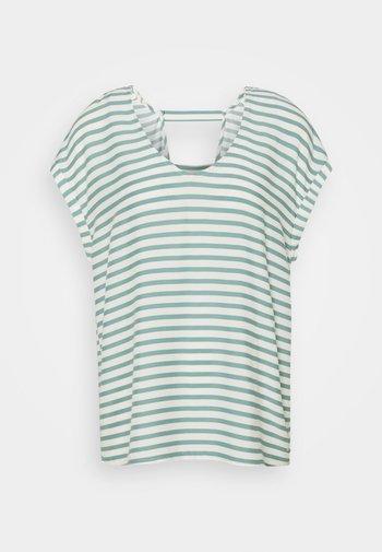 V NECK  - Print T-shirt - mineral blue/white