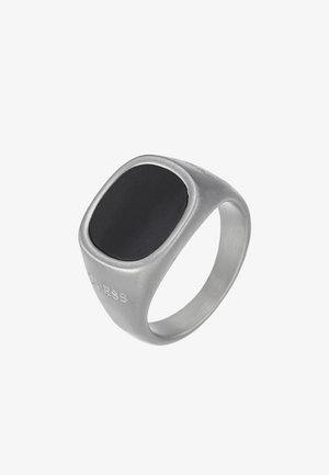 SQUARED BLACK STONE RING  - Ring - silver-coloured