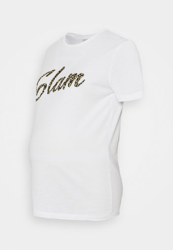 PCMKIROLA TEE - Print T-shirt - bright white/black/gold