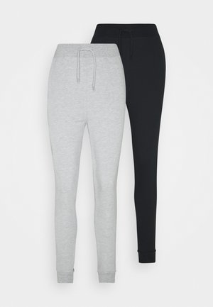 2 PACK SLIM FIT JOGGERS - Træningsbukser - black/mottled grey