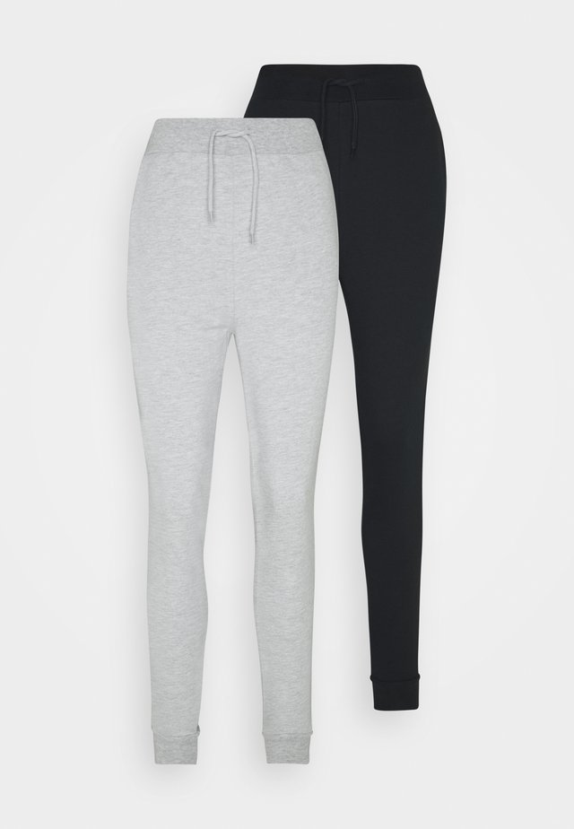2 PACK SLIM FIT JOGGERS - Träningsbyxor - black/mottled grey
